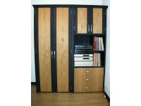 Storage cabinet in chestnut and charcoal lacquered pine 1