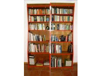 Bookcase in veneered chestnut, edges painted 3